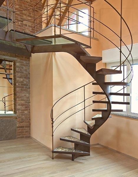 Gentil Elegant Steel Spiral Staircase Reuses Scrap Wood Shavings ...
