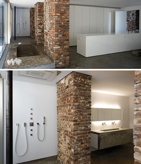 Stunning street level loft in a brick concrete warehouse for Bathroom warehouse