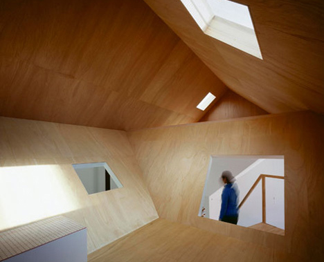 lean in plywood lined attic w awesome angled portholes. Black Bedroom Furniture Sets. Home Design Ideas