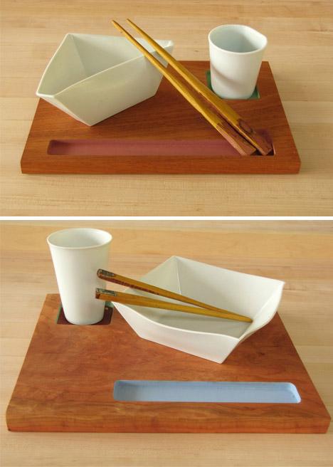 Each ... & Origamic Ceramic: Paper-Style Ceramic Plates Bowls u0026 Cups