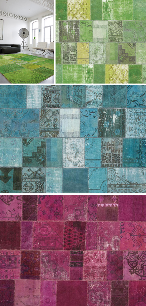 Retro Redye Patchwork Color Carpets From Vintage Rugs