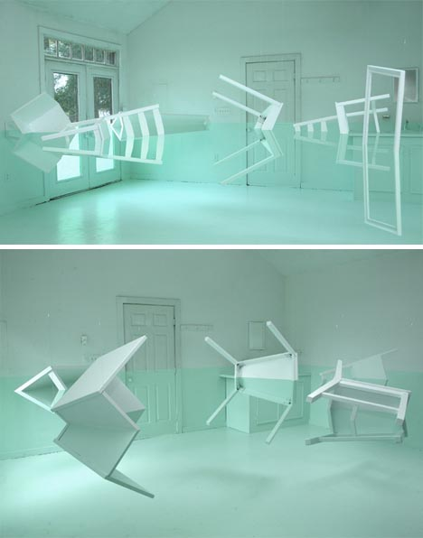 Reflected Beauty: Faux Floating Furniture Art Installation