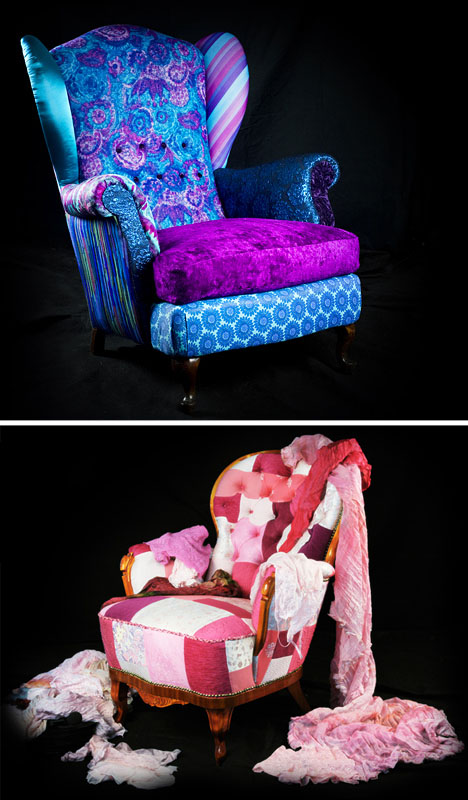 10 Scrap Refabs: Vintage Reupholstery with Colorful Fabric