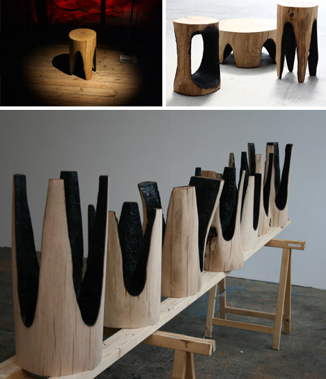 Hot seats stools set on fire to create charred log chairs for Burned wood furniture