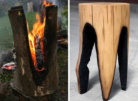 Stools Set On Fire To Create Charred Log Chairs