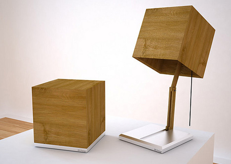 Wonderful Articulating Secret: Wood Cube Shade Conceals Desk Lamp Nice Design