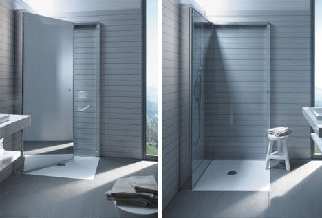 Fold Up Shower flat-folding shower frees up space in compact bathrooms