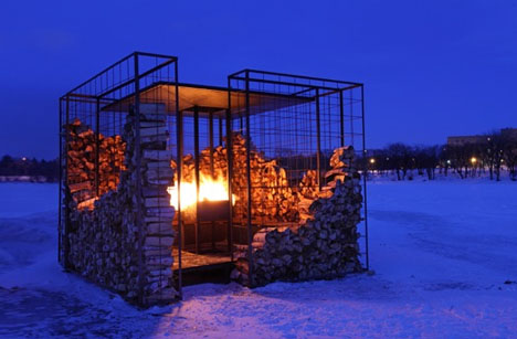 Woodpile Cabin Log Lined Fire Pit Four Season Shelter