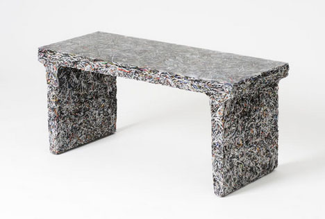 Beautiful Shredded Documents + Molded Resin U003d Fossilized Furniture