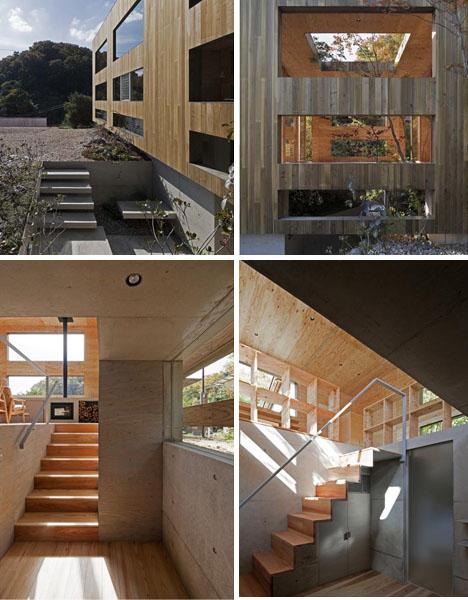 Splitting Space Dynamic Dual Material Japanese Residence