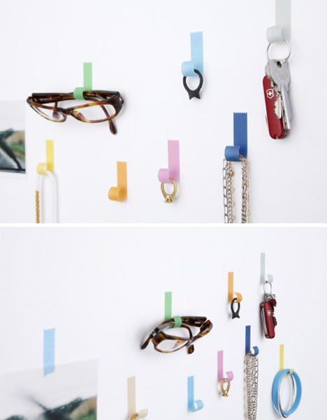 Design Hooks tapehook: sticky tape-shaped, gravity-defying wall hooks