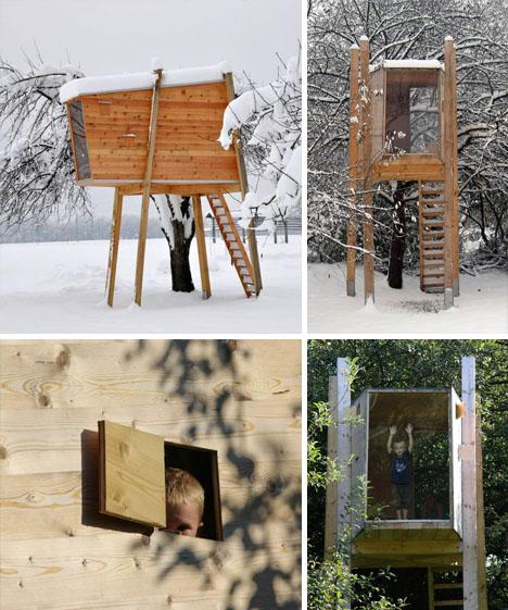 Prefabricated Tree House. Modern Treehouses Eco Perch