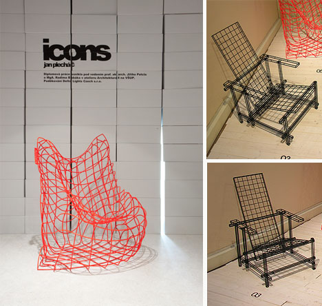 Wire furniture Plywood The Dornob Cool Hard Reality Actual Wireframe Steel Furniture Series