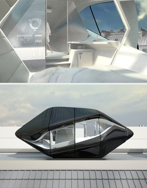 Futuristic Rooftop Living Room In A Compact Prefab Capsule