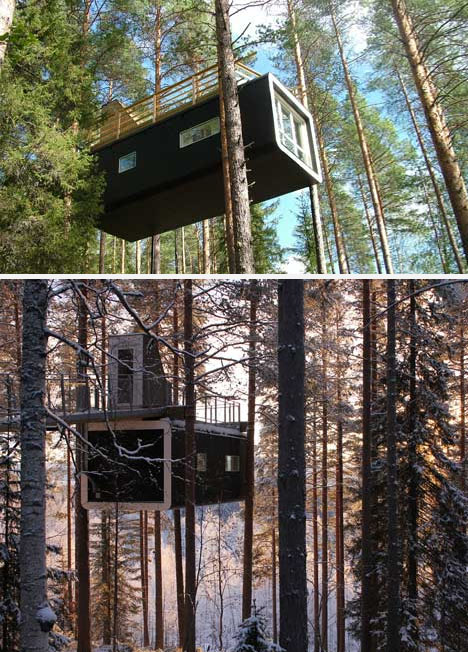 New Tree Cabin Features Rooftop Deck Amp Top Down Entry