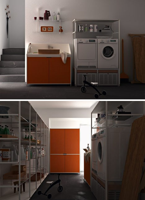 Laundry room layouts cabinets storage shelf systems - Valcucine laundry ...