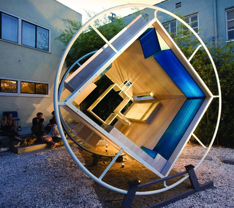 Space Furniture Design spin space: 360-degree room with zero-gravity furniture