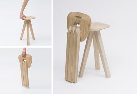3 Legged Folding Stool Combines Gravity Strength Amp Style
