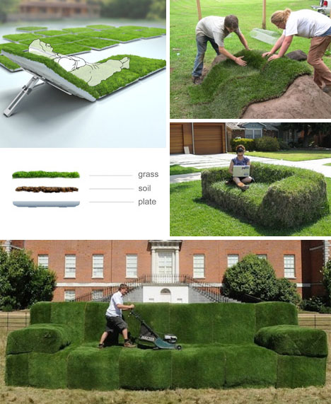 Diy sod sofas recline in real green grass lawn loungers in solutioingenieria Image collections