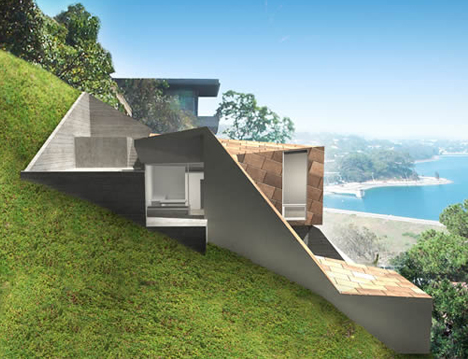 Modern Hillside Homes setbacks & zoning shaped this sweet modern hillside home