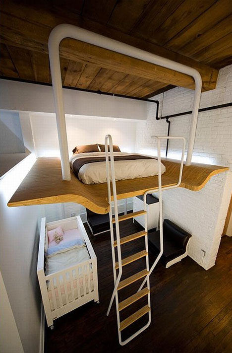 Cantilevered Master Bedroom Loft Classes Up Refab Condo