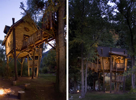 Log Loft Picturesque Tree House For Kids Adults Alike