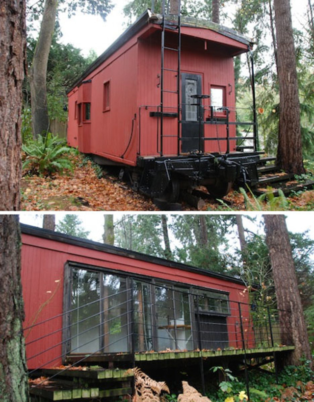 cardboard box home designs, container home designs, carriage home designs, train car home designs, rail car dock designs, on rail car home designs