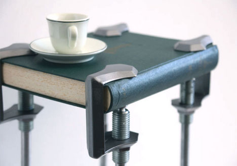 C-Clamp Legs Turn Everyday Objects to Seat & Table Tops | Designs