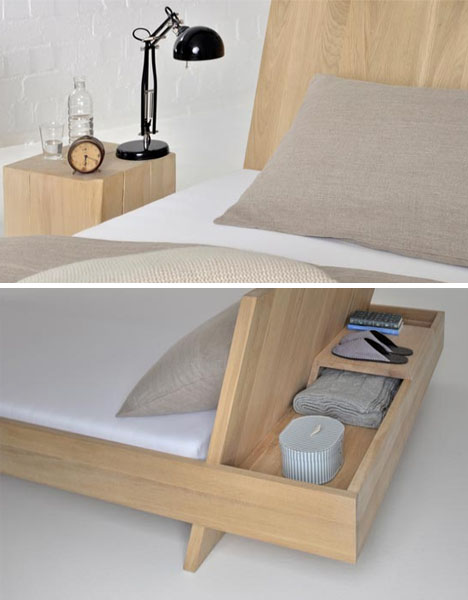 los angeles f499f e05c0 Nifty Built-In Nightstand Hides Behind the Bed's Headboard ...
