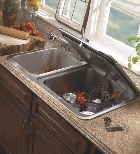 Compact Small-Space Dishwasher Fits into Kitchen Sink Slot