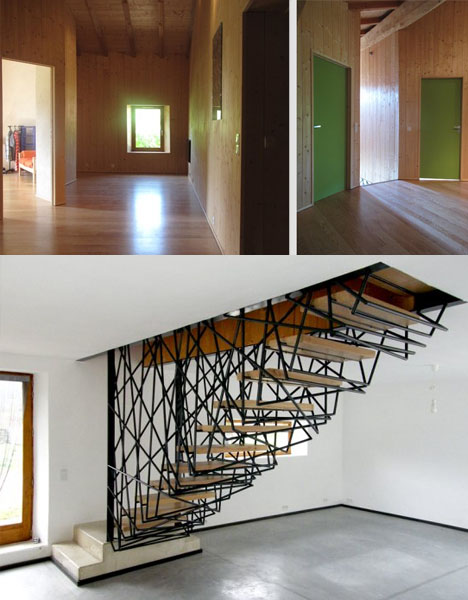 Abstract Steel Stairs In A Vintage Stone Villa Designs