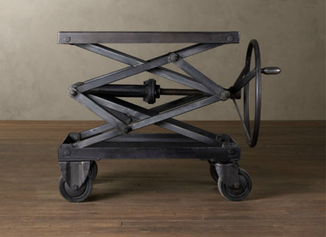 Industrial Retro Adjustable Height Metal Scissor Lift Table