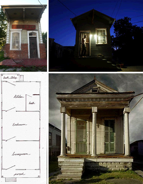 Shotgun style historic small plan homes have no hallways for Double shotgun house plans