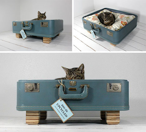 Upcycled Suitcase Pet Beds For Cat Naps