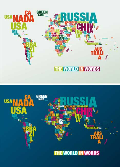 Geo Typographies World Map Wall Stickers Made Of Words