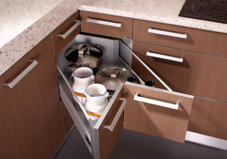 kitchen drawers. These  Corner Drawers 6 Solutions For Awkward Kitchen Spaces