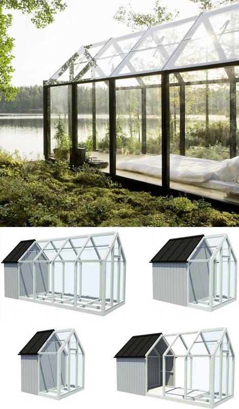 Dream in green small scandinavian summer island house for Prefab garden house