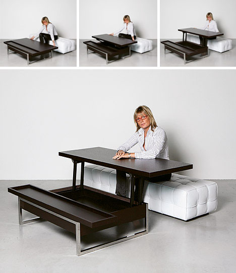 Simply Convertible 5 Dual Mode Glass Wood Metal Tables