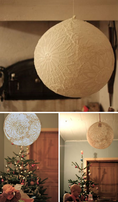 Diy doily light simple suspended sphere lace lamp shade pop mozeypictures Image collections