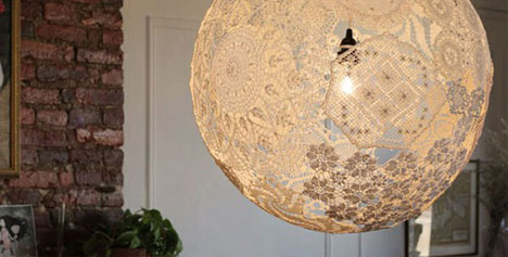 Diy doily light simple suspended sphere lace lamp shade aloadofball Choice Image