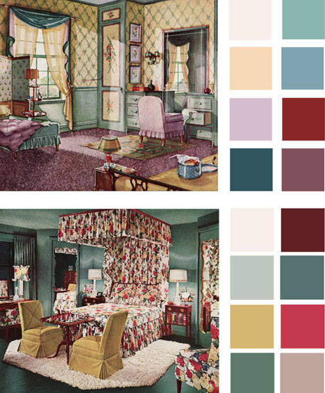 6 color palettes based on early 1900s vintage bedrooms for Interior room design generator