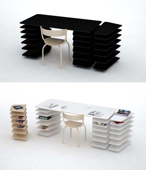 Instant Office Snap Together Custom Desk Shelving Unit