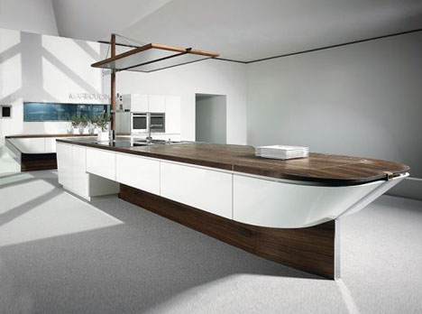 awesome shaped kitchen island | Sleek & Unique: Crafty Sailboat-Shaped Kitchen Built-Ins ...