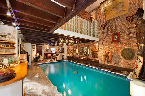 cool townhouse living room design | NYC Townhouse with Living Room Pool | Designs & Ideas on ...