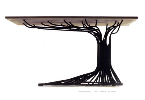 Tree Inspired Table Features Steel Branches Trunk Amp Roots