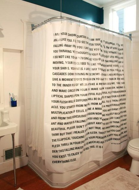 Delightful Shower In Words: Curtain Brings Literature To The Bathroom