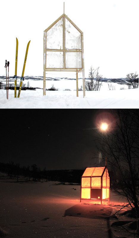 Cast in place ice fishing hut uses frozen walls of water for Ice fishing at night