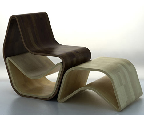 Exceptionnel Nesting Plywood Chair Stores Two Ottomans Inside Itself