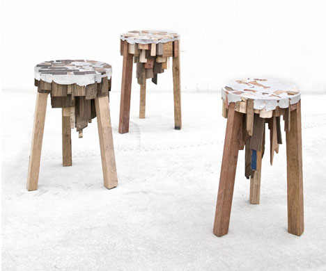Stupendous Scrappy Stools Tables From Junk Tin Raw Wood Offcuts Machost Co Dining Chair Design Ideas Machostcouk