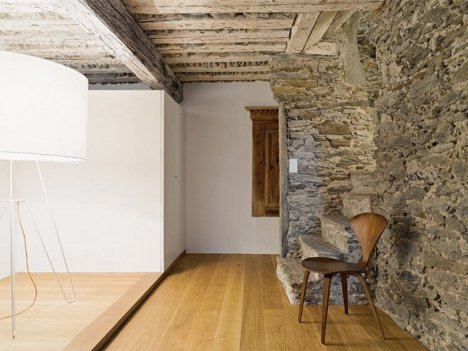 Stone Walls Inside Homes sleek remodel takes swiss home from ancient to modern